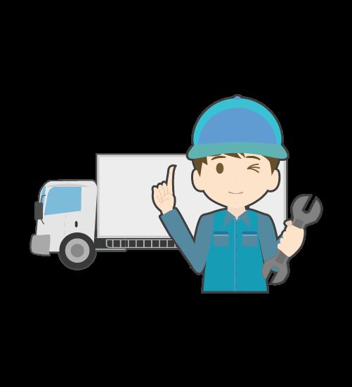 トラックと整備士のイラスト