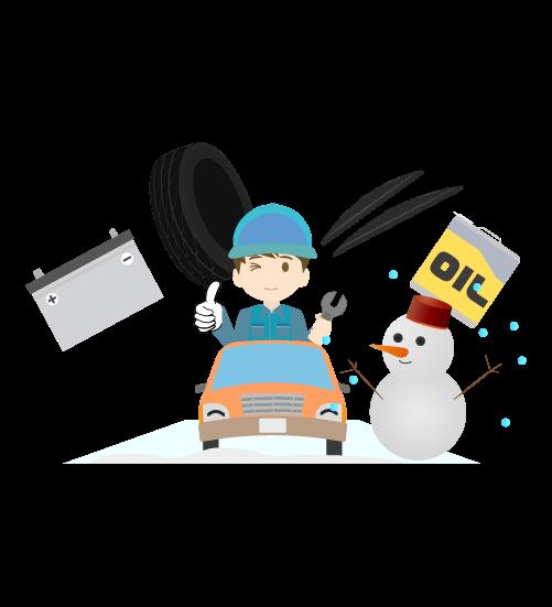 整備士と冬のメンテのイラスト