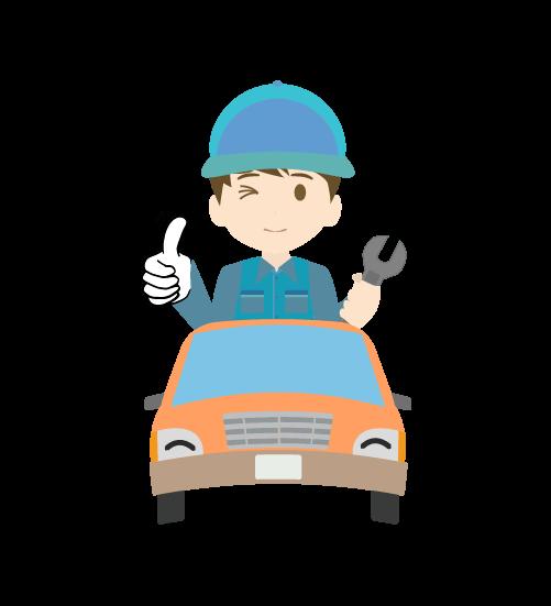 整備士とかわいい車のイラスト