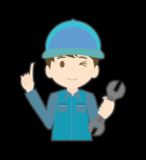 指差しする整備士(男)のイラスト
