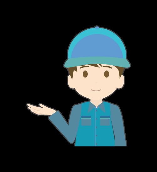 案内する整備士(男)のイラスト