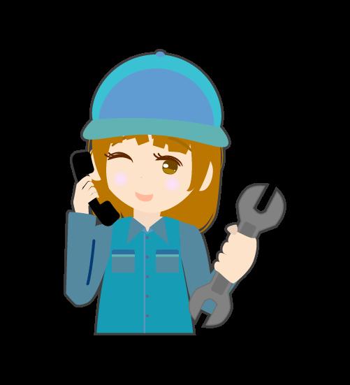 電話する整備士(女)のイラスト