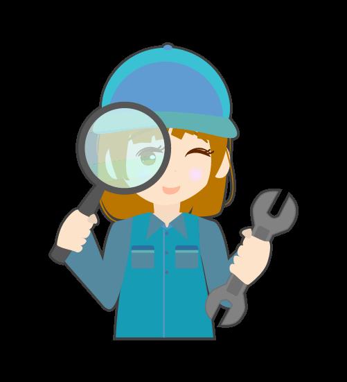 虫眼鏡と整備士(女)のイラスト