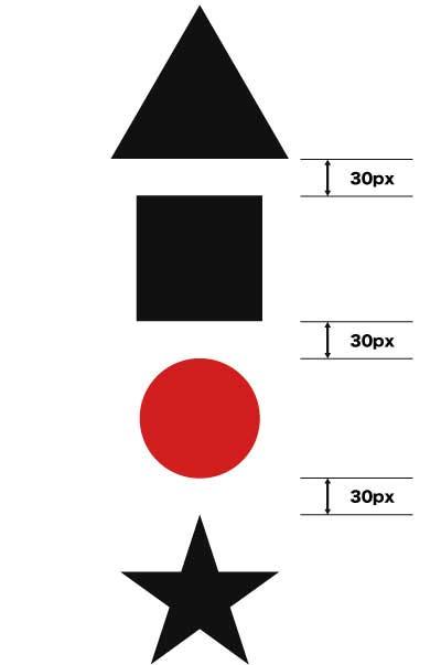 30px指定で等間隔で分布させて整列