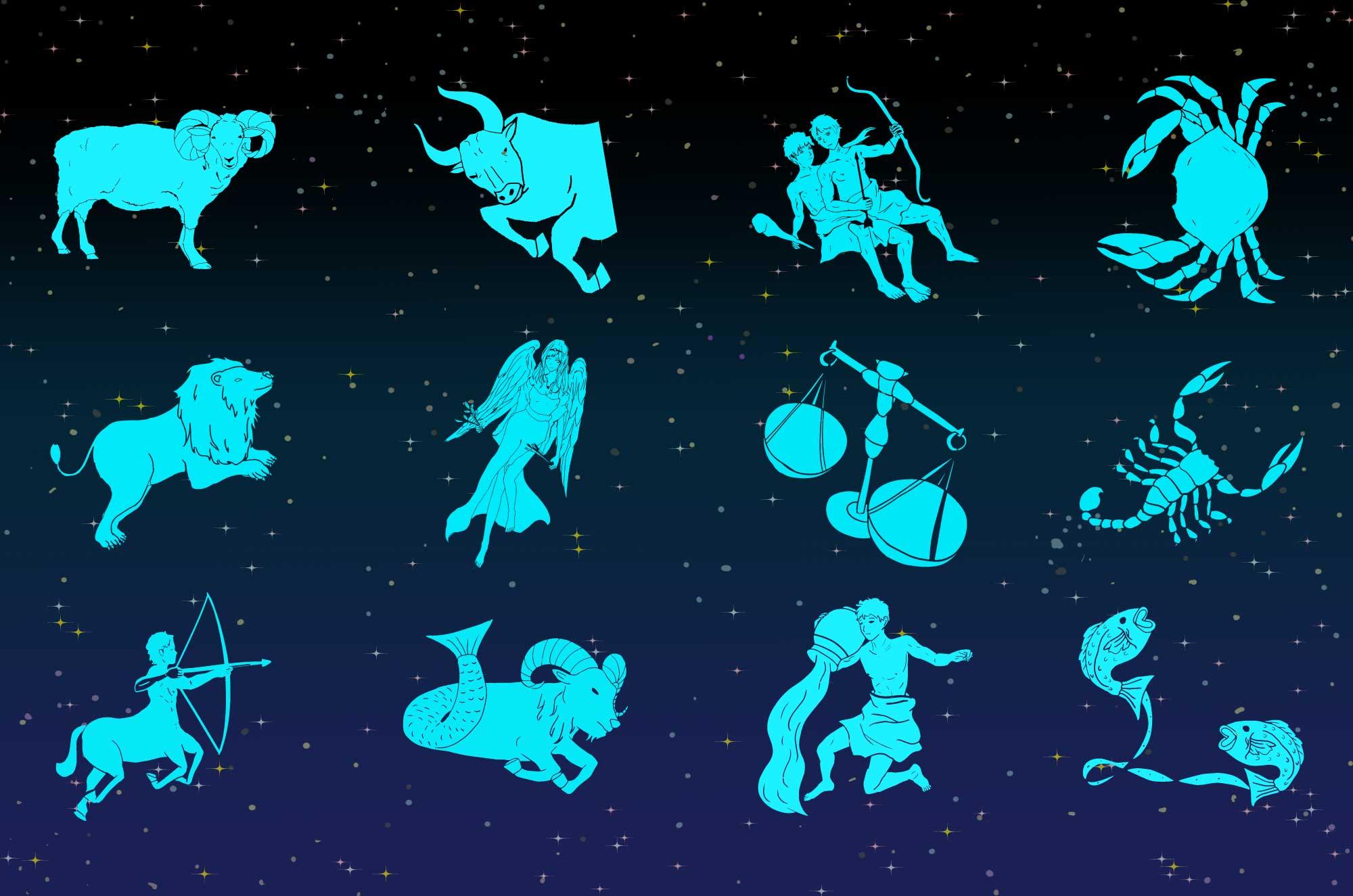星座のフリーイラスト - 星を点と線で結ぶ12星座の絵