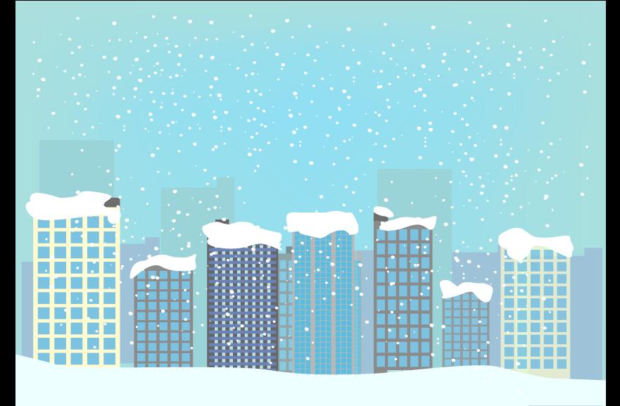 積雪の都心の風景のイラスト