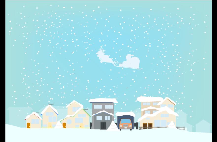 雪化粧の住宅街のイラスト