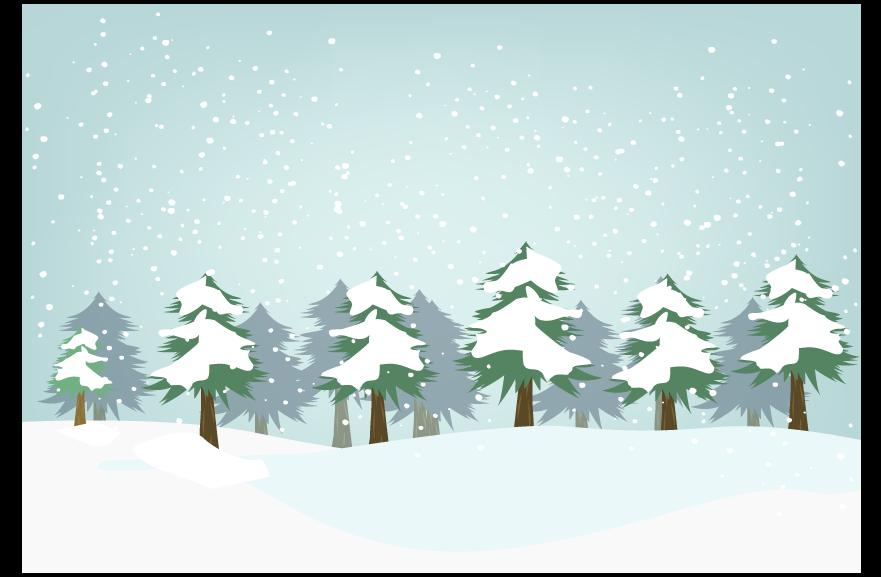 杉と山の積雪風景のイラスト