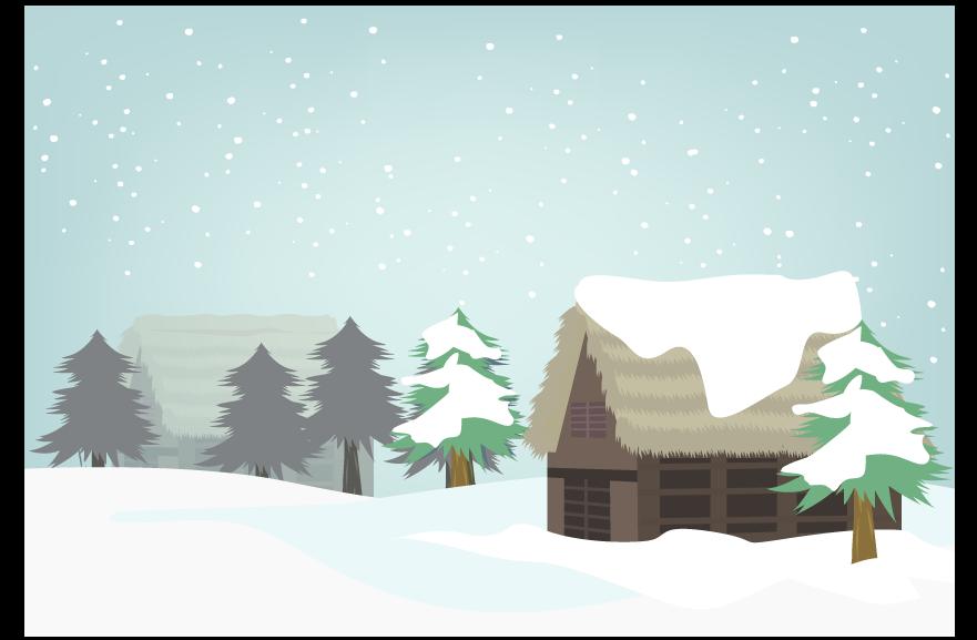 古民家と積雪のイラスト