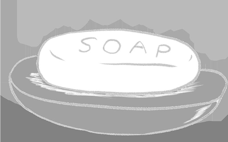白黒の石鹸のイラスト