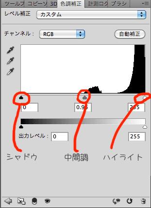 photoshop レベル補正スライダー調整