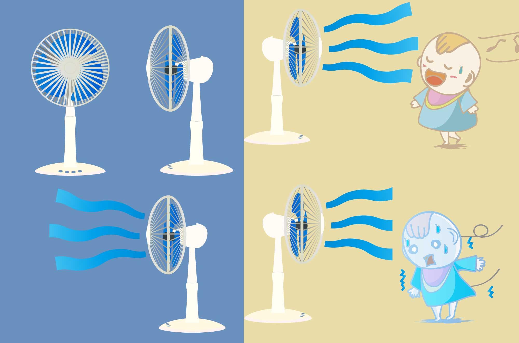 扇風機のイラスト - 横・正面・カラー別の夏家電素材