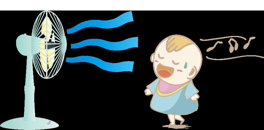扇風機で涼む赤ちゃんのイラスト