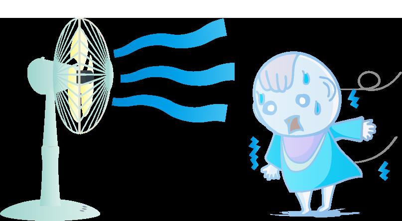 扇風機にあたりすぎて冷えすぎた赤ちゃんのイラスト