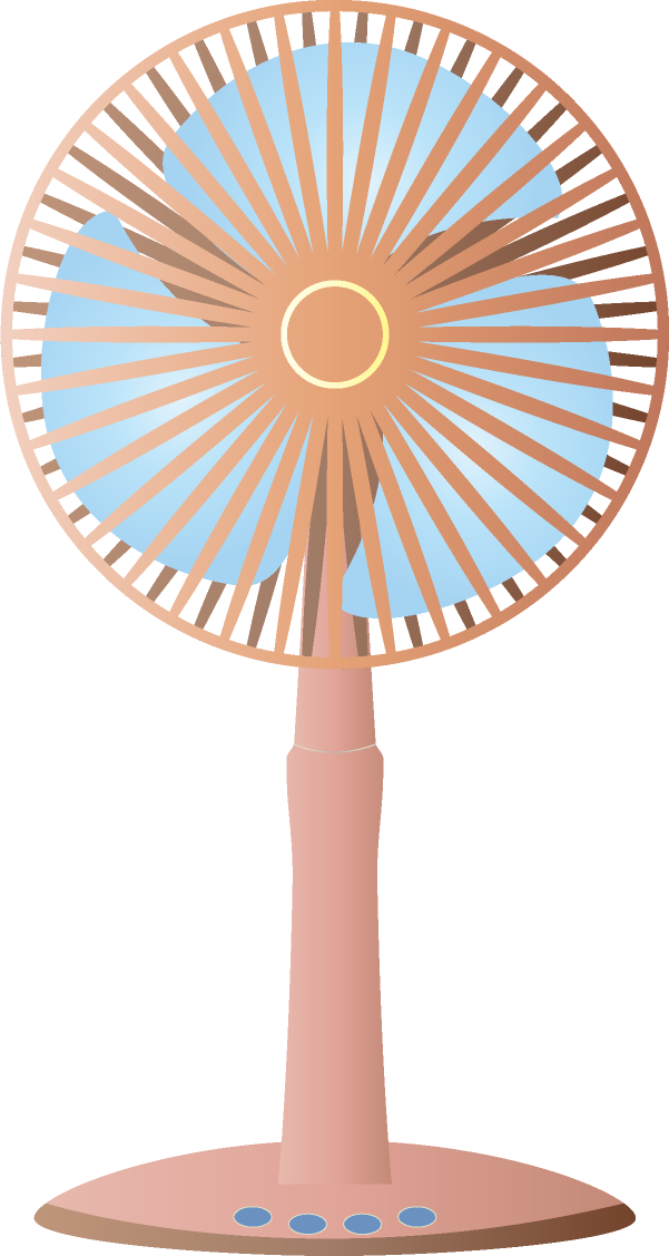 扇風機のイラスト<br>(茶色・正面)