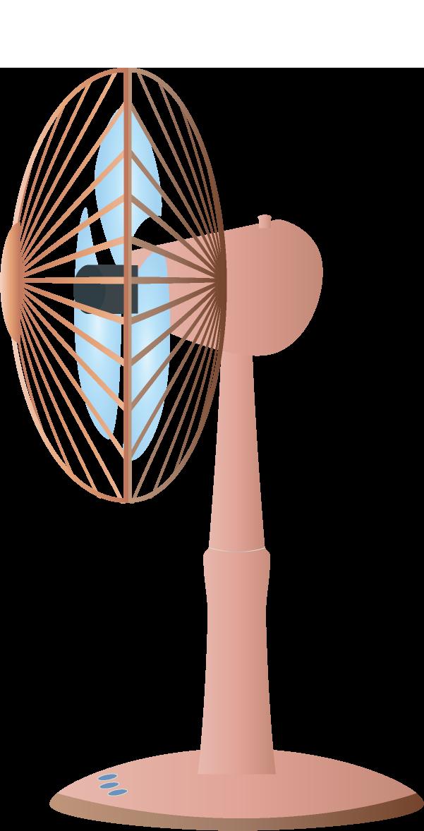 扇風機のイラスト<br>(茶色・横)