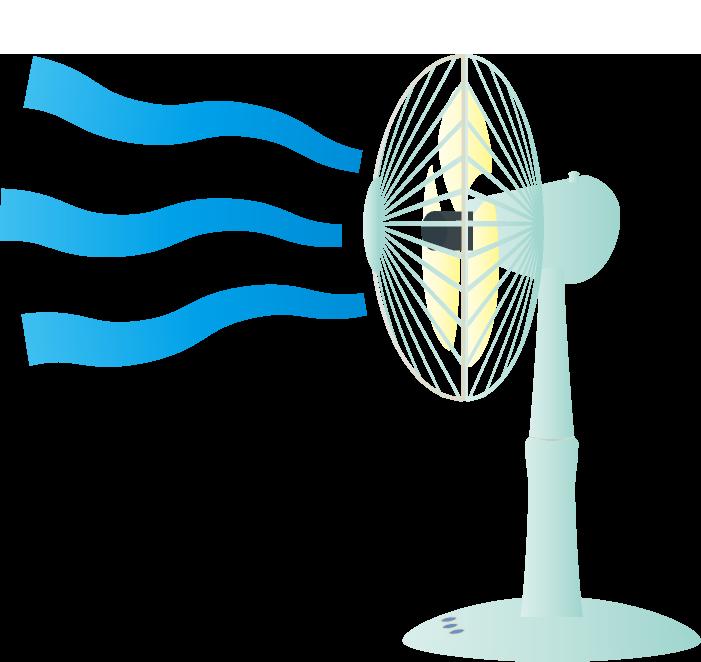 涼しそうな風を出す扇風機のイラスト
