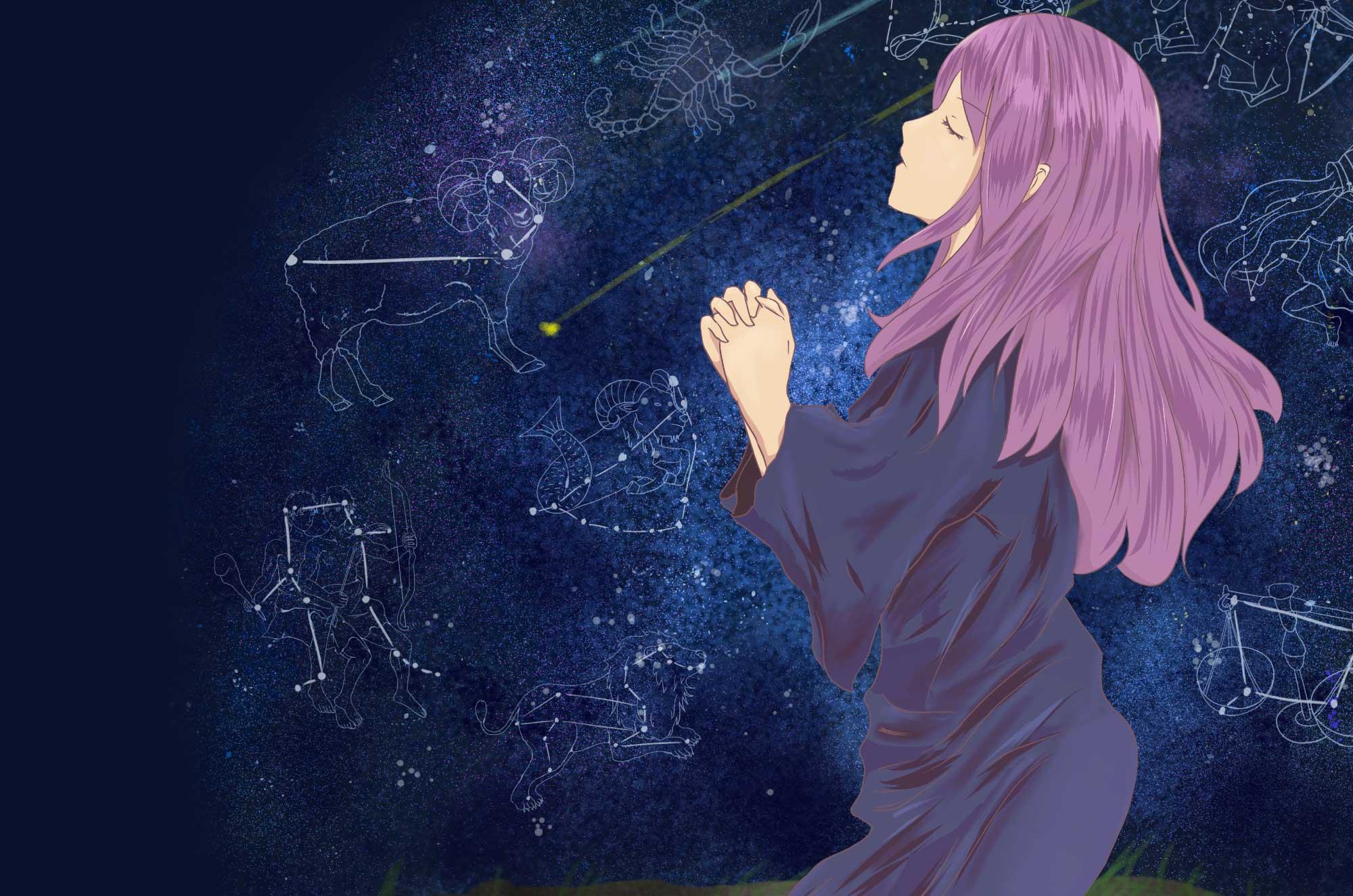 占星術師のフリーイラスト - 星座占いの不思議な職業
