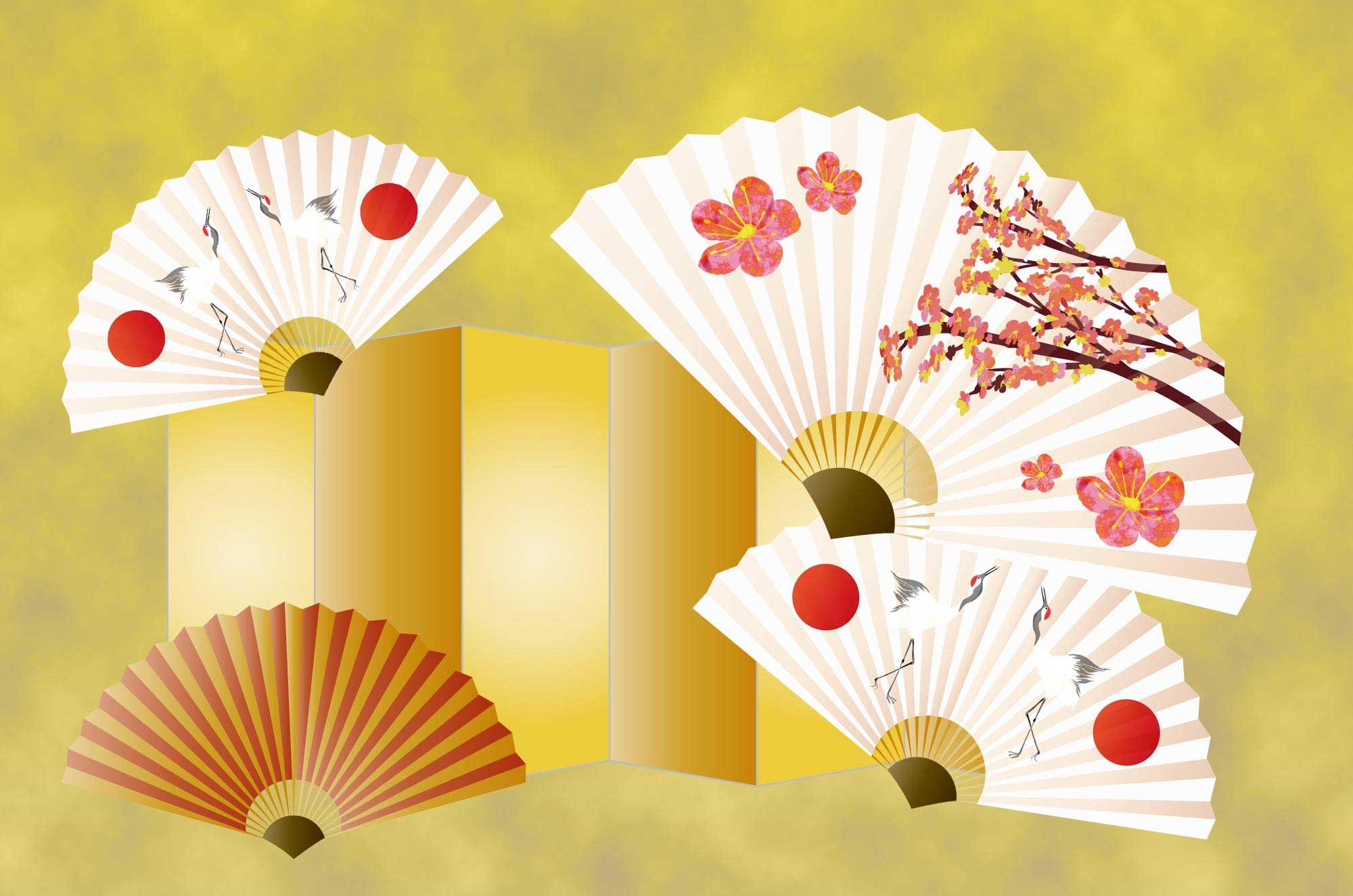 扇子のイラスト - 黄金・梅の花など和の縁起物の無料素材