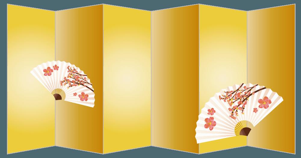 金の屏風と和の扇子イラスト