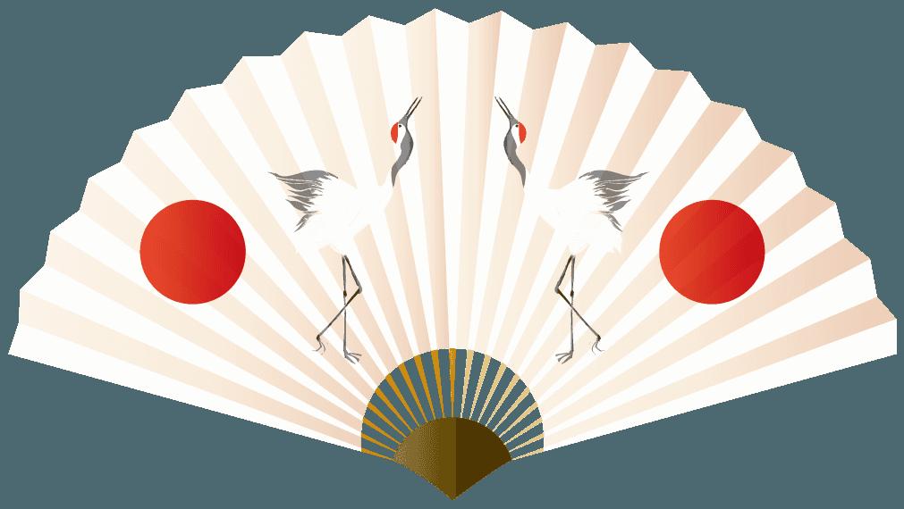 縁起の良い鶴と日の丸の扇子のイラスト