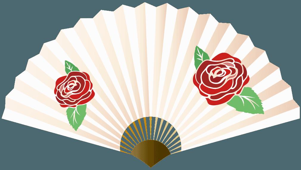 おしゃれなバラの扇子のイラスト