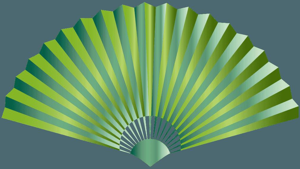 緑色の扇子のイラスト