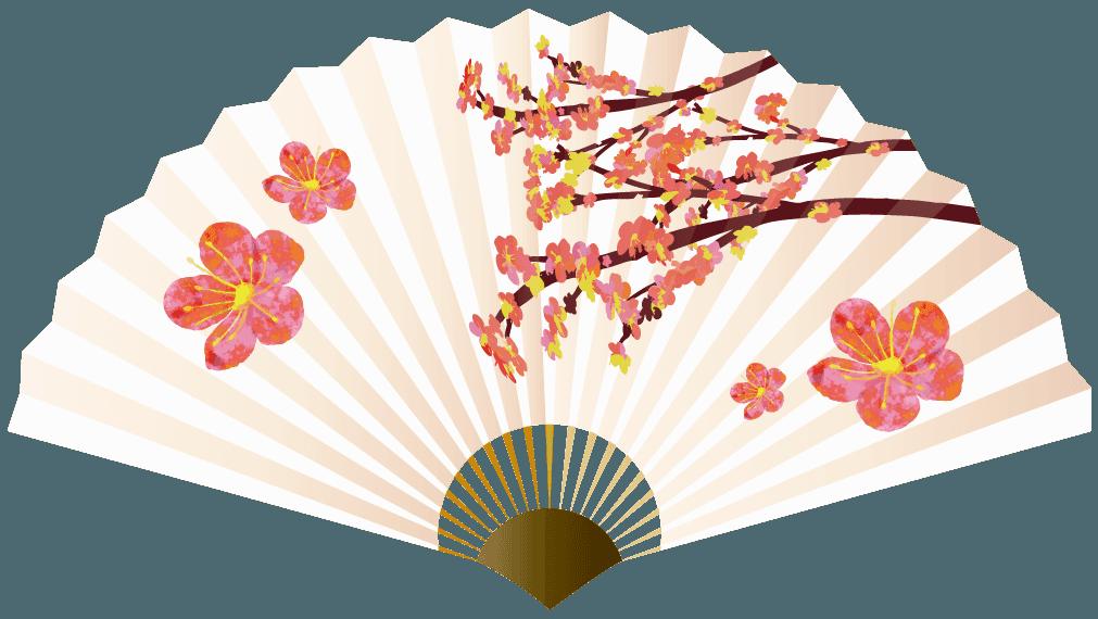 梅の花の扇子のイラスト