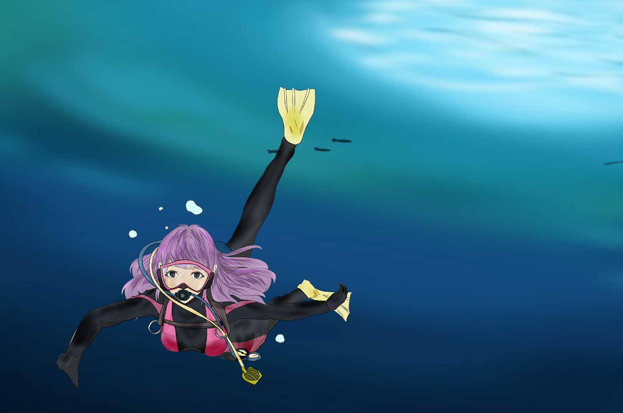 潜水士のイラスト - 深海に沈んでいく職業無料素材
