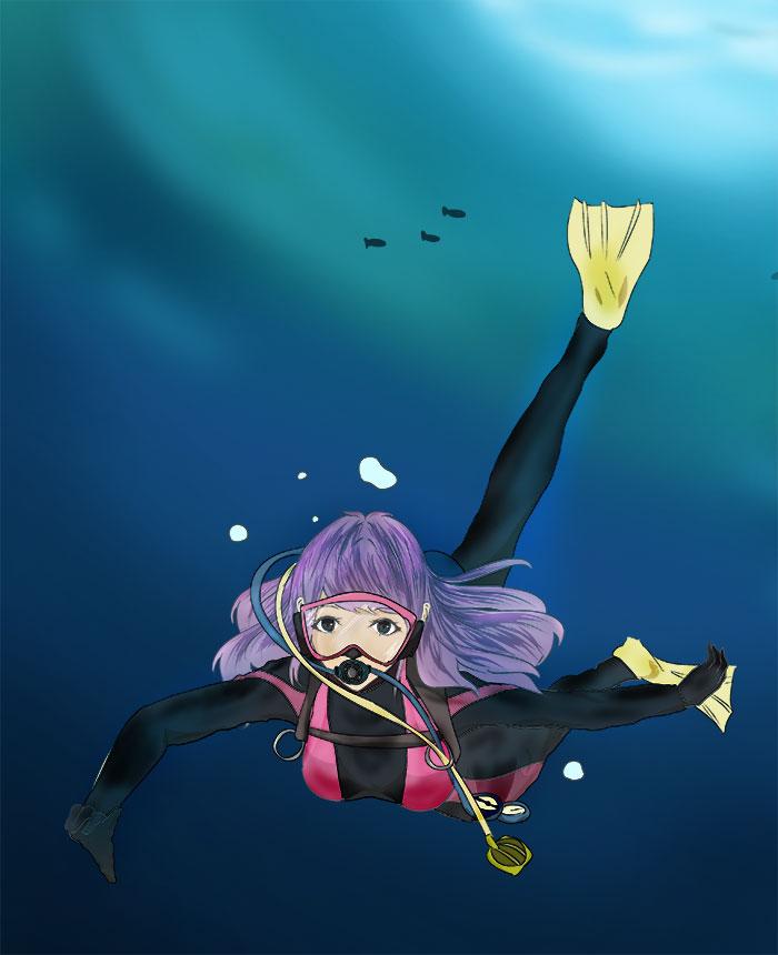 深海へ潜る潜水士のイラスト