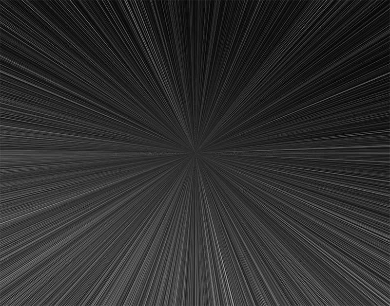 先進的な集中線のイラスト(黒)