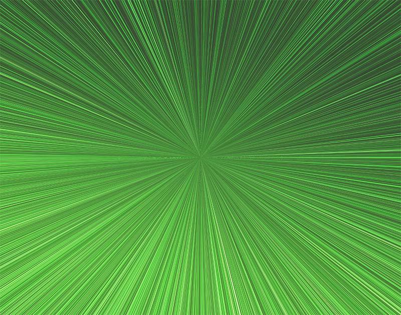 先進的な集中線のイラスト(緑)
