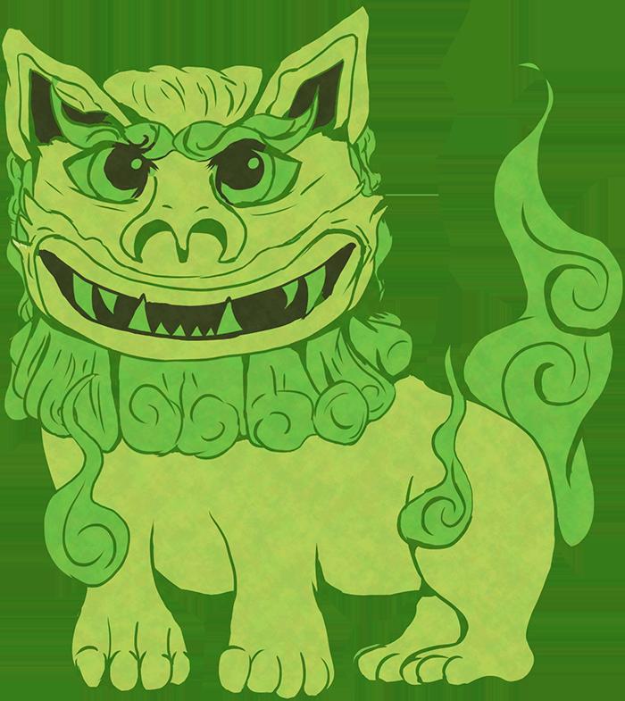 シーサーのイラスト(緑)