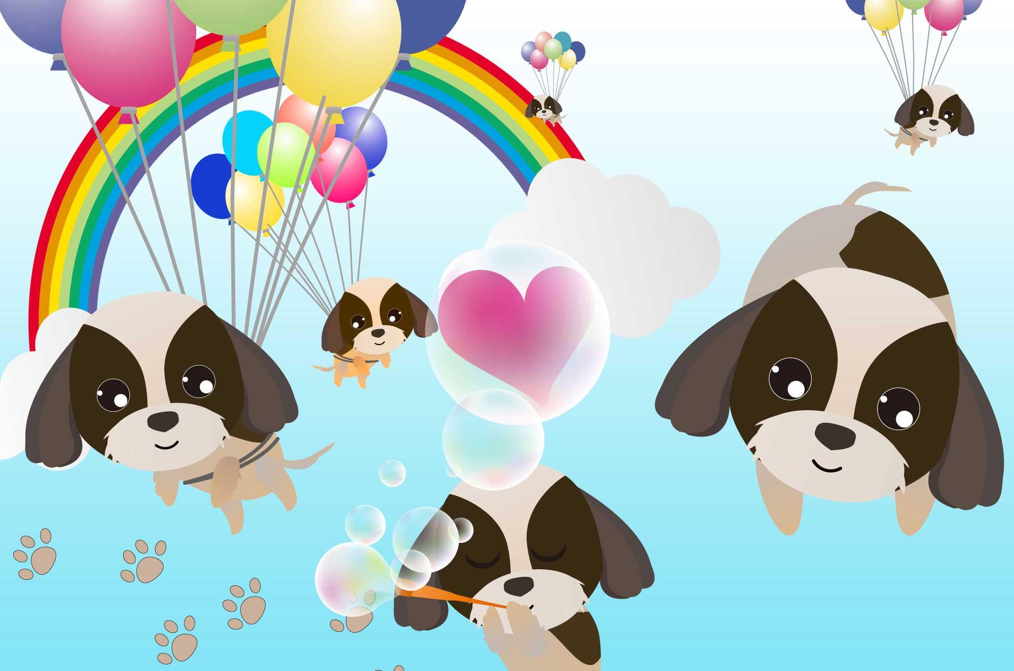 可愛いシーズー犬のイラスト- ファンタジーなフリー素材