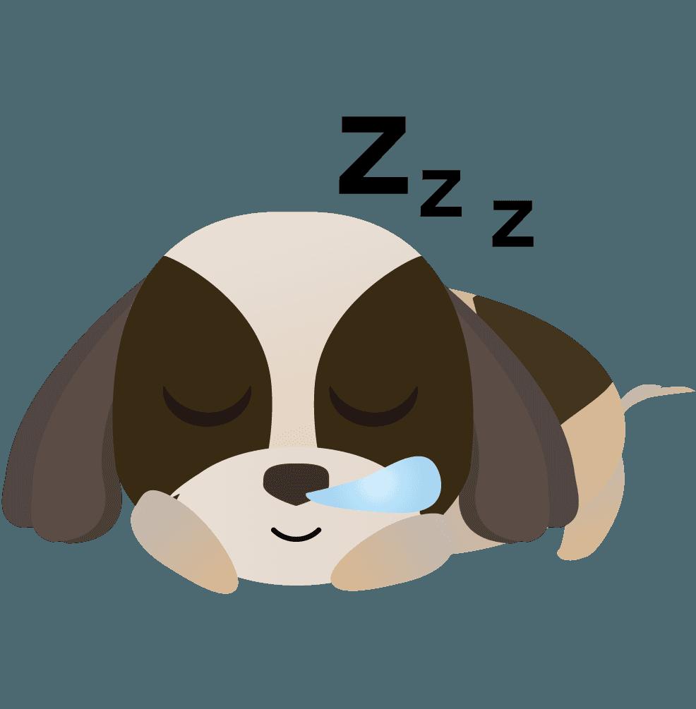 寝ている可愛いシーズーのイラスト
