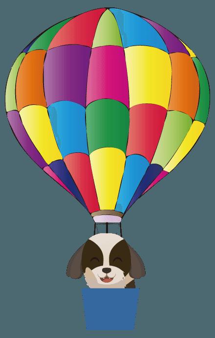 気球に乗ったシーズーのイラスト