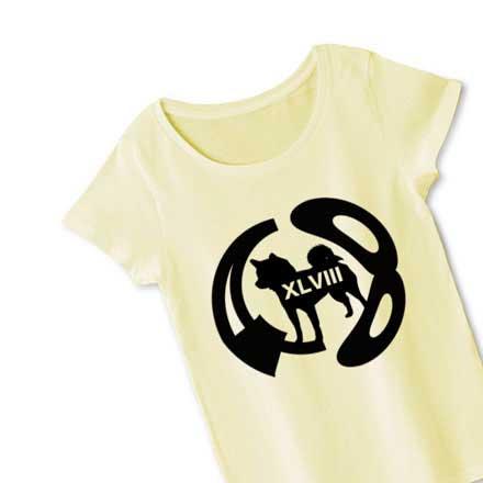 柴犬48ロゴシルエットTシャツレディースTシャツ