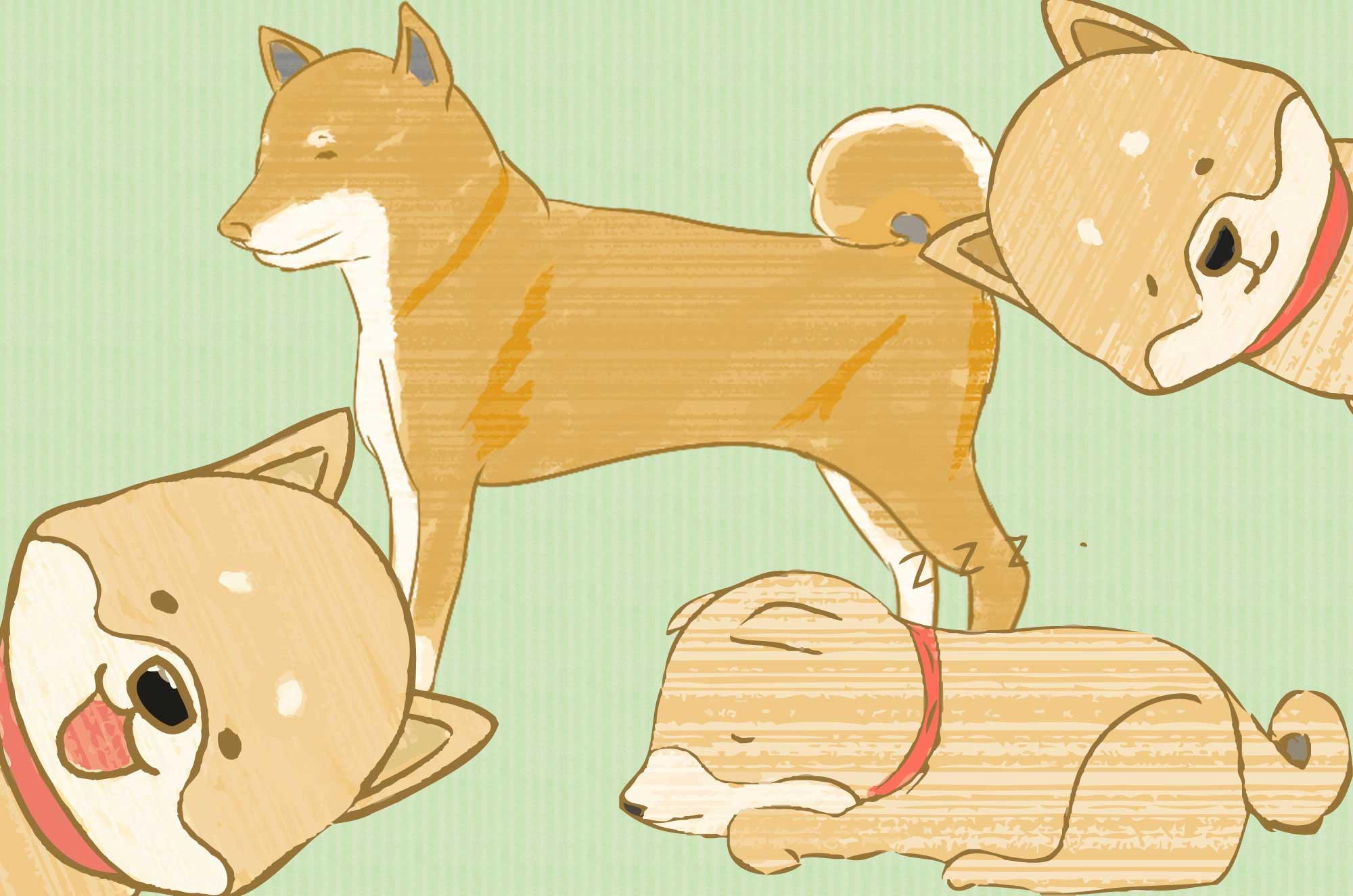 可愛い柴犬のイラスト - 手書きのラフなキャラクター素材
