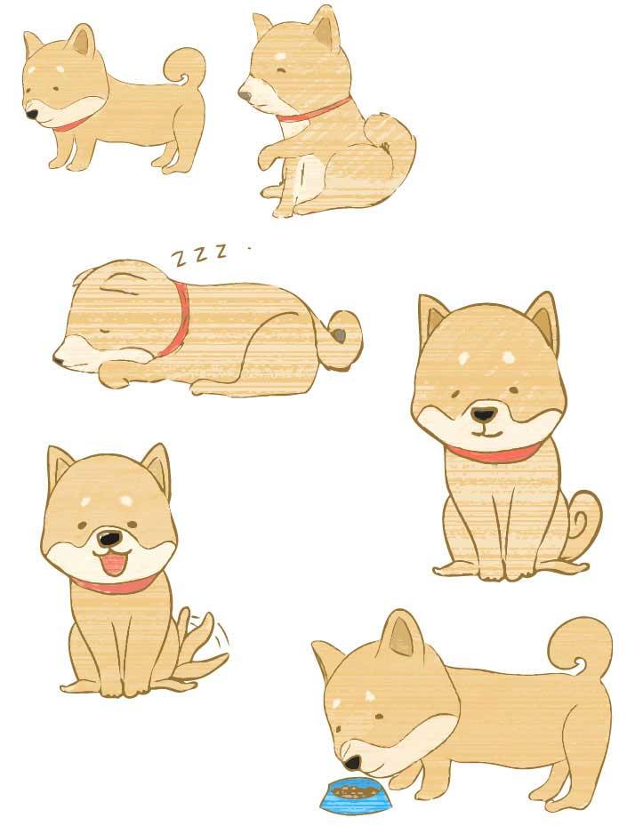 柴犬のイラストレーターベクター素材セット