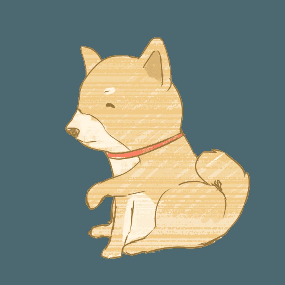 おかわりをする柴犬イラスト