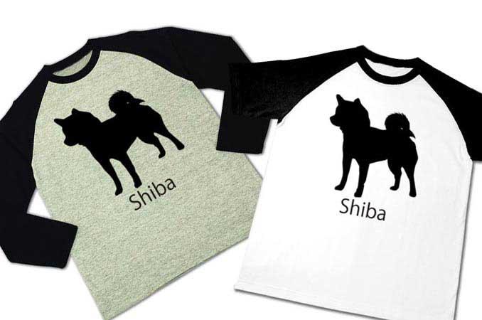 柴犬ラグラン半袖Tシャツと長袖Tシャツ