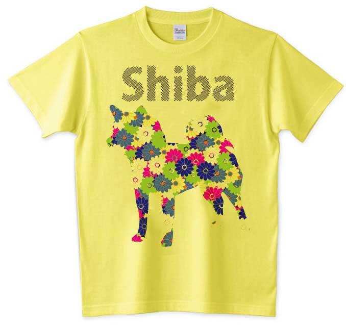花柄柴犬シルエットTシャツ