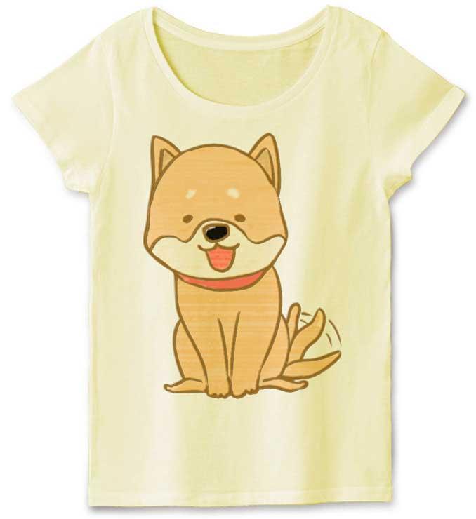 柴犬の可愛いイラストTシャツ