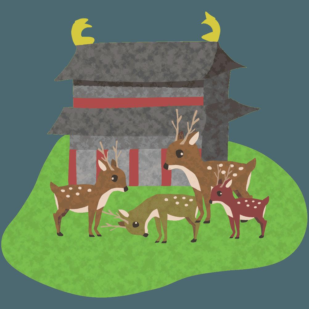 奈良の鹿イラスト