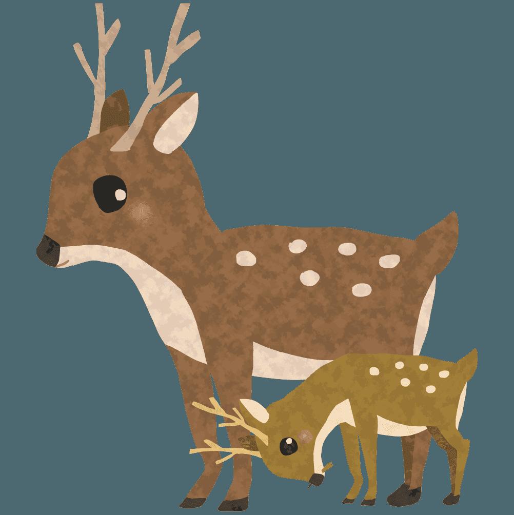 可愛い鹿の親子イラスト