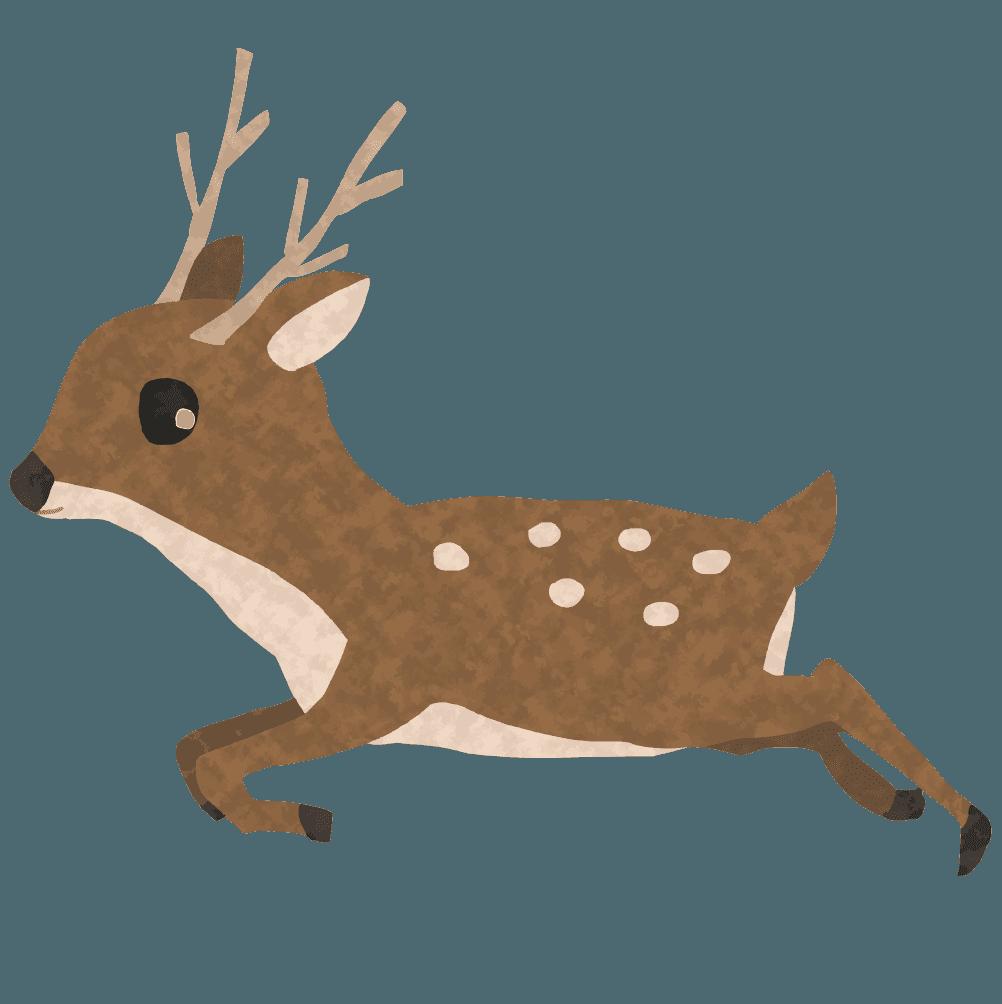 ジャンプする鹿イラスト