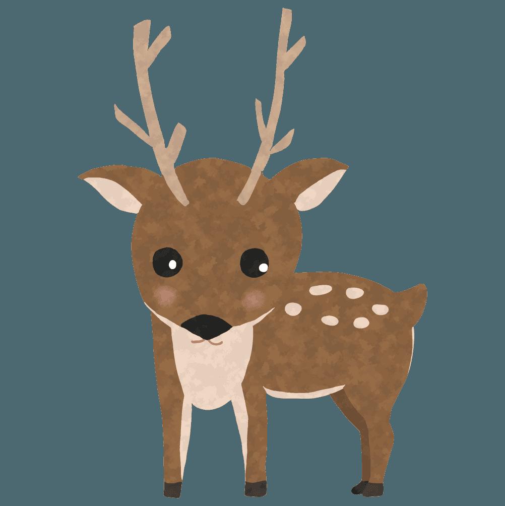 こちらを見る鹿イラスト