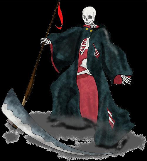 大鎌を持つリアルな死神のイラスト