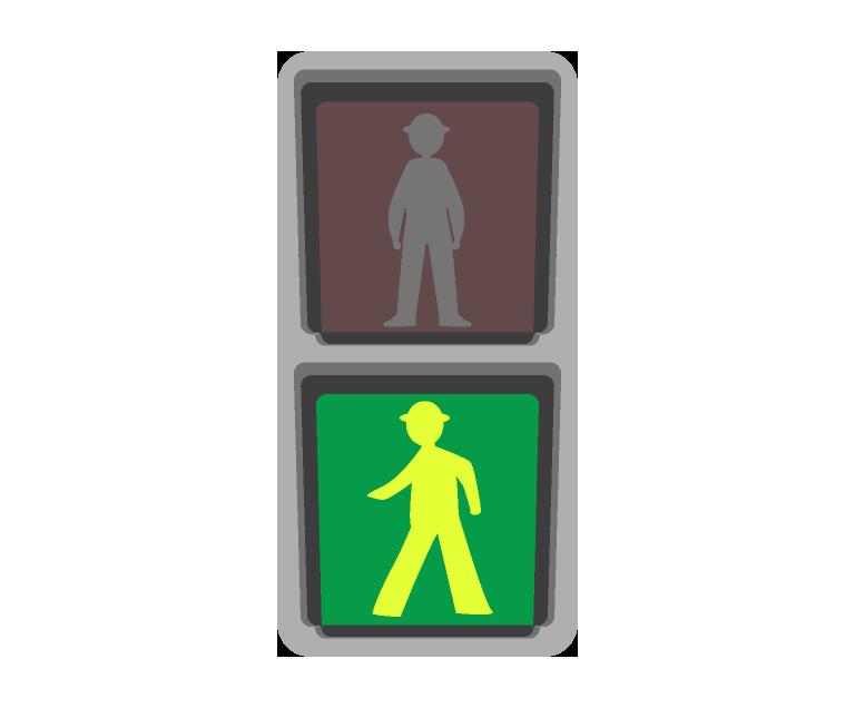 歩行者の信号機のイラスト(青)