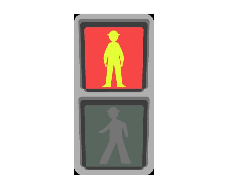 歩行者の信号機のイラスト(赤)